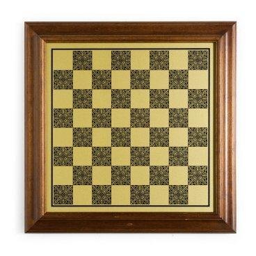 Italian Worm Wood/Brass Pedestal Chess Board