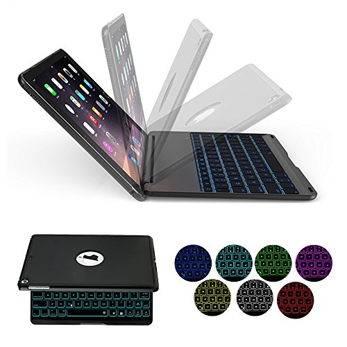 iPad Keyboard Case for 2017 New iPad 9.7 inch & iPad Air with 7 Colors LED Backlit iPad Keyboard with Bluetooth Protective Case Cover for iPad 5th Generation and iPad Air 1 by HotGo(Black) by HotGo (Image #7)'