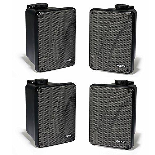 KICKER 4 KB6000 6.5'' Black Full Range Indoor/Outdoor/Marine Speakers 11KB6000B by KICKER