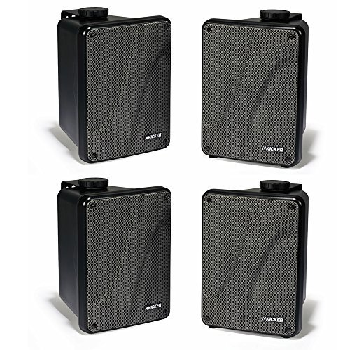 4) KICKER KB6000 6.5'' Black Full Range Indoor/Outdoor/Marine Speakers 11KB6000B by Kicker
