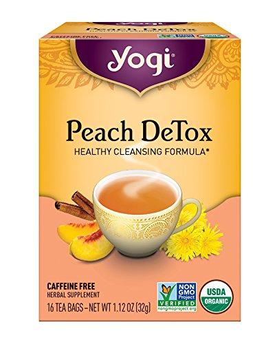 Yogi Tea, Peach DeTox, 16 Count (Pack of 6), Packaging May - Caffeine Free Tea Peach