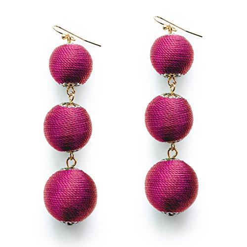 Hot Pink Thread Ball Dangle Earrings Rose Red Bead Tassel Lantern Drop Wedding Earrings for Girls