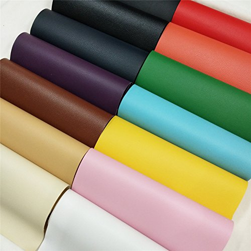 ZAIONE 14 pcs 8'' x 12''(20cm x 30cm) Sheet Solid Lichee Faux Leather Material PVC Vinyl Upholstery Crafts Fabric Sew for Shoes Bag Sewing Patchwork DIY Bow Craft Applique(13 Colors) by ZAIONE