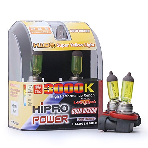 - Hipro Power H8 35W 3000K Golden Yellow Xenon HID Halogen Fog Light Bulbs