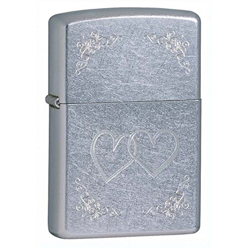 Heart To Heart Street Chrome Zippo Outdoor Indoor Windproof Lighter Free Custom Personalized Engraved Message Permanent Lifetime Engraving on Backside ()