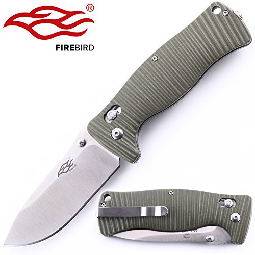 Knife F720 Firebird by Ganzo G720 Pocket Folding Hunting Knife G-10 Handle SS Blade (Green)