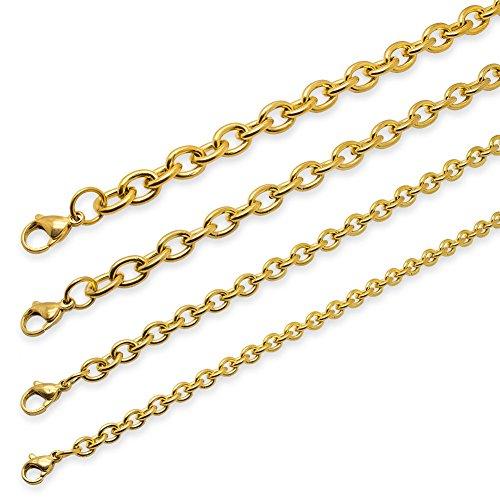 SoulCats® chaîne lien acier affiné chaîne Set chaîne roi, taille: 5 mm, sélection: chaîne 55 cm + bracelet, couleur: doré