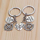 Rurah Best Friends No Matter Where Compass Keychain Heart Best Friend Jewelry