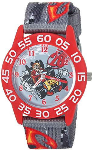 Disney Boy's 'Mickey Mouse' Quartz Plastic and Nylon Casual Watch, Color:Grey (Model: WDS000215)