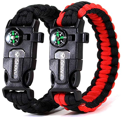 Survival Paracord Bracelet 2 Pack, Flint Fire Starter, Loud Whistle, Compass, Scraper Knife - 5 in 1 Gift for Men & Women - Tactical Emergency Kit for Camping, Hunting, Wilderness Hiking, Fishing