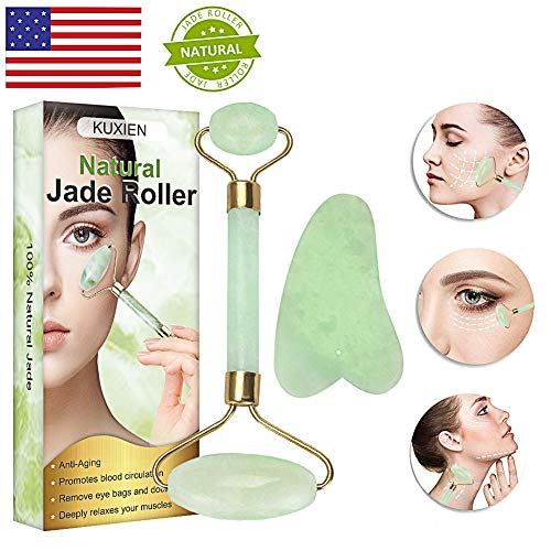 Jade Roller, Jade Roller for Face, Jade Roller Massager, Natural Jade Facial Roller,Anti Aging Jade roller set with Gua Sha Scraping Tool - SPA Face Massage Anti Aging Cold Therapy Beauty Sliming To (Neck Head Lymphatic And System)