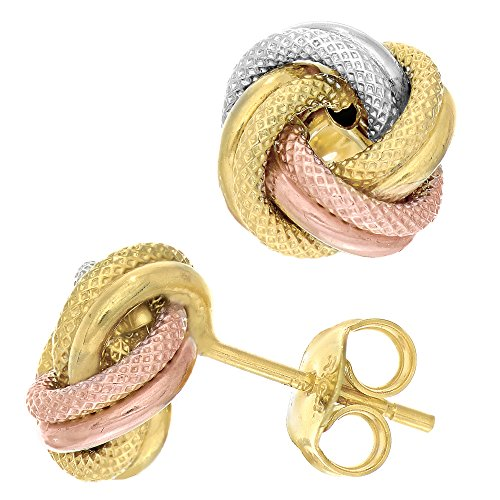 14k Tricolor Textured And Shiny Love Knot Stud Earrings, 10mm