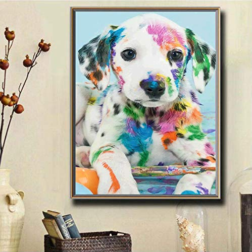 Yisinga 5d Diamond Painting kit for Adults Partial Drill Paint with Diamonds, DIY Diamond Painting Wall Decoration for Kids, Diamond Cross Stitch Art Craft Painting Canvas Kits for Home Decor Dog
