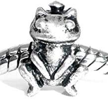 Charm Buddy Girls' Silver Plated Fairytale Frog Prince Charm Fits Pandora Bracelets Jewelry