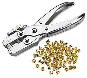 Juego de alicates para ojales, perforador de acero para piel, lona, todos los tejidos, para hombres y mujeres, ropa, zapatos, cinturones, bolsas, manualidades, 100 ojales de oro/ojales de Katzco