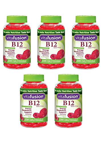Vitafusion Energy B12 Gummy kfIqx Vitamins Very Raspberry 500mcg, 250 Count (Pack of 5) ZDqpi by Vitafusion