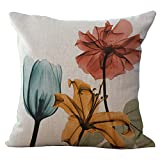 Flowers Leaves Cushion Cover ChezMax Cotton Linen Throw Pillow Case Sham Square Pillowcase For Lounge Diwan Divan Pub Bench