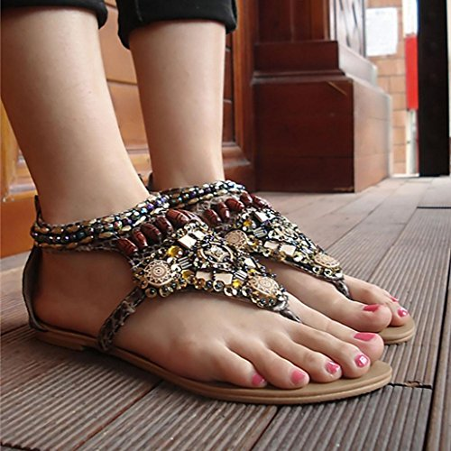Sandali Ethnic Beige Scarpe A Da Perline Clode Spiaggia Perizoma Moda Womens Infradito Style Con Roma 1 Coppia Sandali Bohemian fnwqpBO
