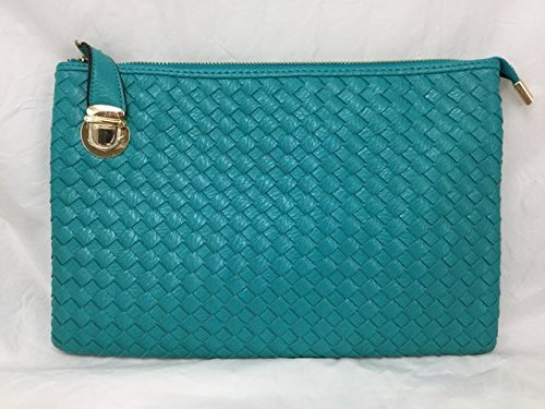 Ipad Wristlet (Proya Collection Buckle Lock Woven Leather Large Wristlet Clutch)
