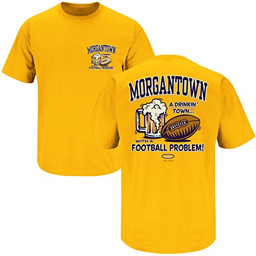 West Virginia Football Fans. Morgantown Drinking Town Gold T Shirt (X-Large)