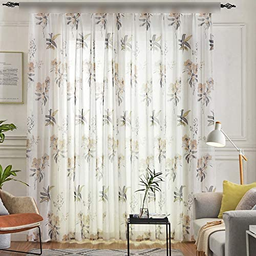 Extra Wide Burnout Brown Floral Semi Sheer Curtain