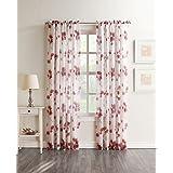 """No. 918 45070 Kiki Sheer Floral Print Curtain Panel, Coral, 51 x 84"""""""
