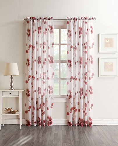 "No. 918 Kiki Floral Print Crushed Sheer Voile Rod Pocket Curtain Panel, 51"" x 84"", Coral - Floral print adds contemporary elegance Gently filters light while enhancing privacy Rod pocket design allows for easy hanging on a standard curtain rod - living-room-soft-furnishings, living-room, draperies-curtains-shades - 51FD0DNlFiL -"