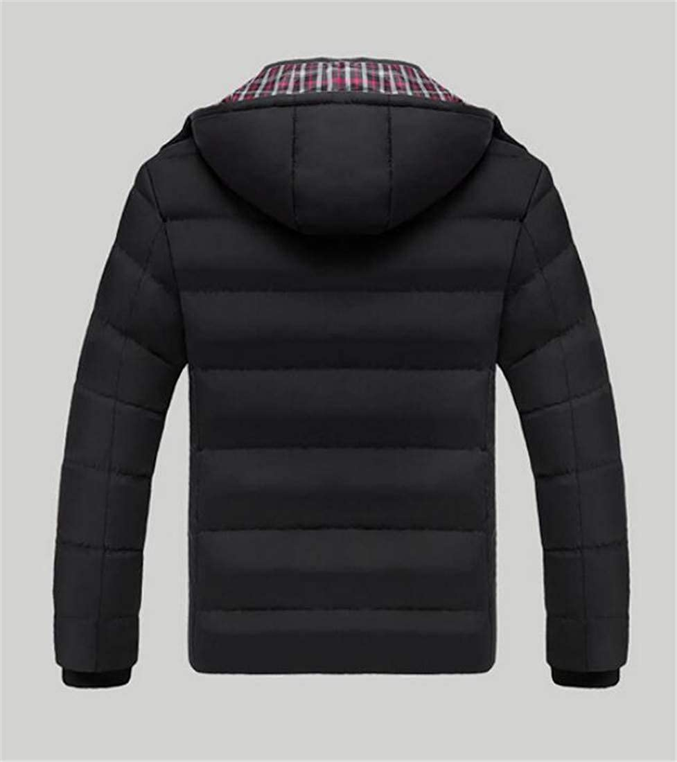 Lutratocro Mens Casual Hooded Puffer Cotton-Padded Quilted Overcoat Parkas Coat