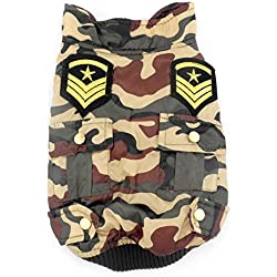 SMALLLEE_LUCKY_STORE Petmall Dog Cat Clothes Camouflage US Padded Jacket Coat Water-Resistant, Large, Green