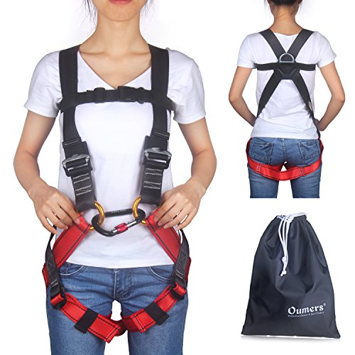 Oumers Kids' Climbing Harness, Full Body Harness, Safe Belts Guide Harness for Outward Band Expanding Training, Caving Rock Climbing Rappelling Equip, Safety Comfort (Small Black and Red)