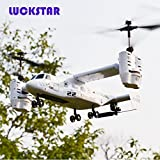 LUCKSTAR Remote Control UAV Aircraft - 2.4GHZ 4.5CH Dual Axis RC Airplane with Double Gyro & Headlamp - Cool Boy's / Kids' Toy (Silver)