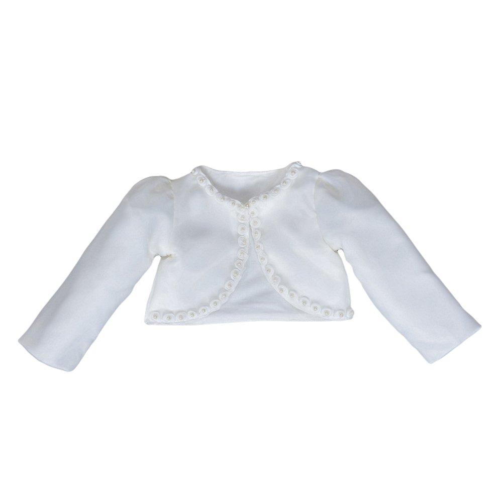 LOSORN ZPY Little Girls Long Sleeves Bead Bolero Cardigan Kids One Button Flower Shrug White 6-12M