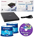 Pioneer 6x BDR-XD05B Ultra Lightweight External Blu-ray BDXL Burner, Cyberlink Software and USB Cable Bundle with 100pk Recordable CD-R Verbatim 700MB 52X with Branded Surface