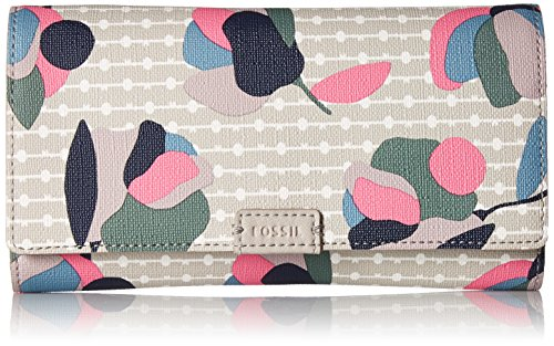 Fossil Emma Rfid Flap Wallet, Floral Multi/White