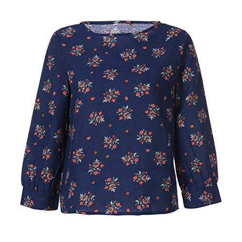 Femme Manches Bringbring T Blouse Chemise Chic Vrac Bleu Imprim Shirts en Longues Lin rgrEwqCx