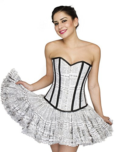 Newspaper Print White Cotton Halloween Party Prom Costume Overbust Corset Top ()