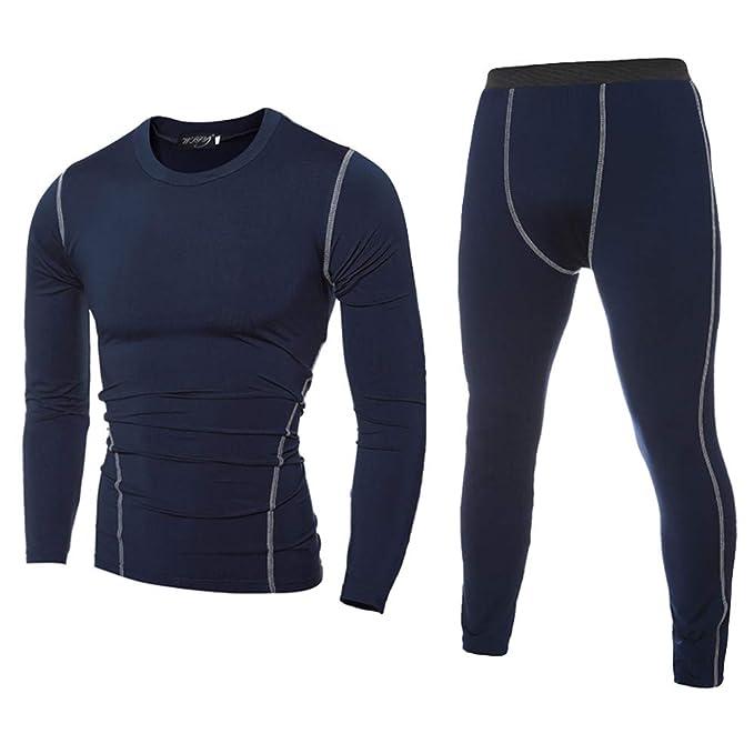 POLP Pantalones de Compresión Mallas Hombre Manga Larga Secado Rápido  Transpirable Leggings Reductora Adelgazante Hombre Camiseta Fitness Running  Gym ... 4a569b3065d2