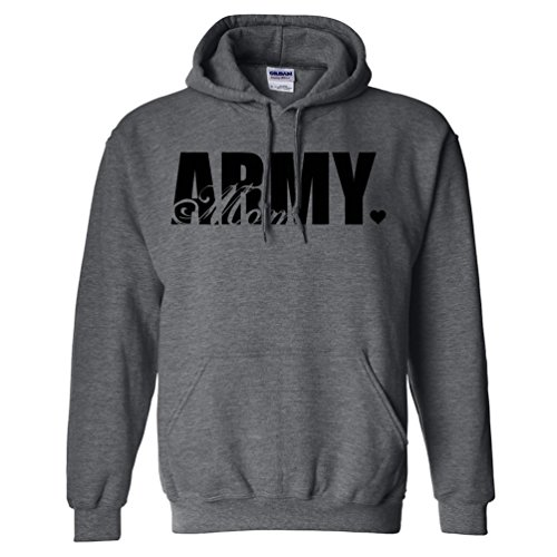 Army Mom Hooded Sweatshirt in Dark Heather Gray - Small
