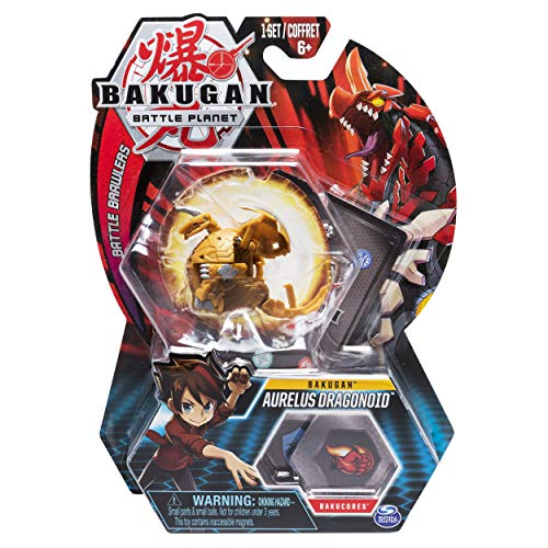 Bakugan, Aurelus Dragonoid, 2-inch Tall Collectible Transforming Creature, for Ages 6 and Up