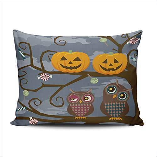 WEINIYA Bedroom Custom Decor Cute Owl and Halloween Pumpkins Throw Pillow Cover Elegant Design One Side Printed Patterning 16x24 Inches]()