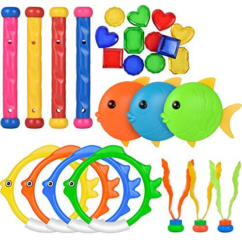 Kiztoys Pool Toys for Kids, Toddler Pool Games with Toy Fish Rings (4 Pcs), Diving Sticks (4 Pcs), Toy Fish (3 Pcs), Pool Toy Plants (3 Pcs) & Pool Gems (12 Pcs), Swimming/ Diving Toys