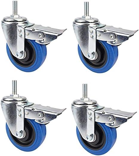 protezione del pavimento liscia e si ruote per rotelle per sedie da ufficio Ruote con da 4 pollici rotella blu o filettata a 360 /° Ruota girevole con freno per carrelli futuri Supporti fai-da-te