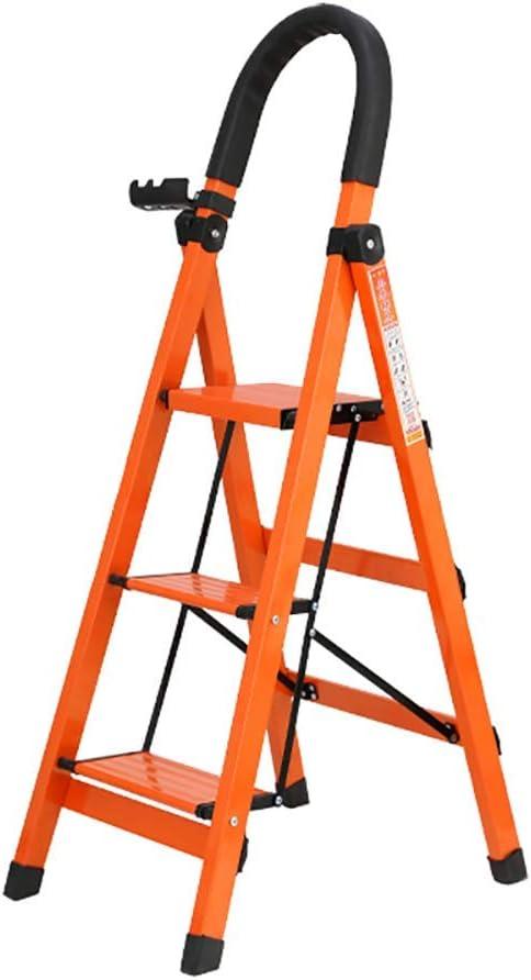 MOCHENG Taburete de Escalera Plegable de 3 peldaños de Metal para Adultos con Mango de Goma, Pedal Ancho, hasta 330 Libras, Escalera Naranja Ligera: Amazon.es: Hogar