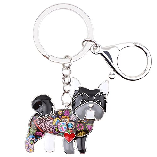 Bonsny Enamel Alloy Chain Yorkie Yorkshire Dog Key Chains For Women Car Purse Handbag Charms Jewelry (Grey)