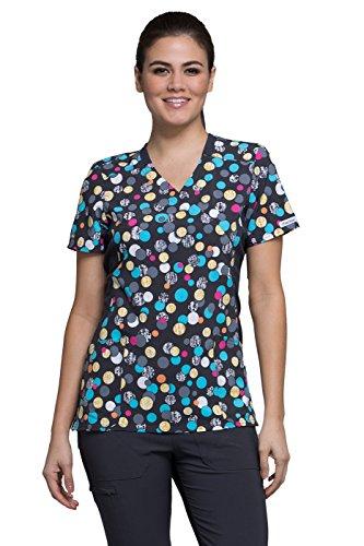 Cherokee Fashion Prints Women's Mock Wrap Knit Panel Polka Dot Print Scrub Top Small Print