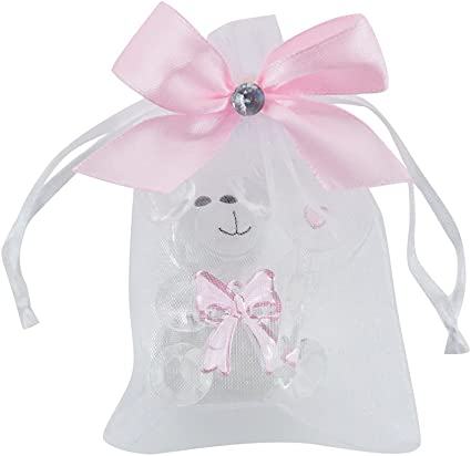 Pink Teddy Bear Table Charms Baby Shower Favours 16 Pk