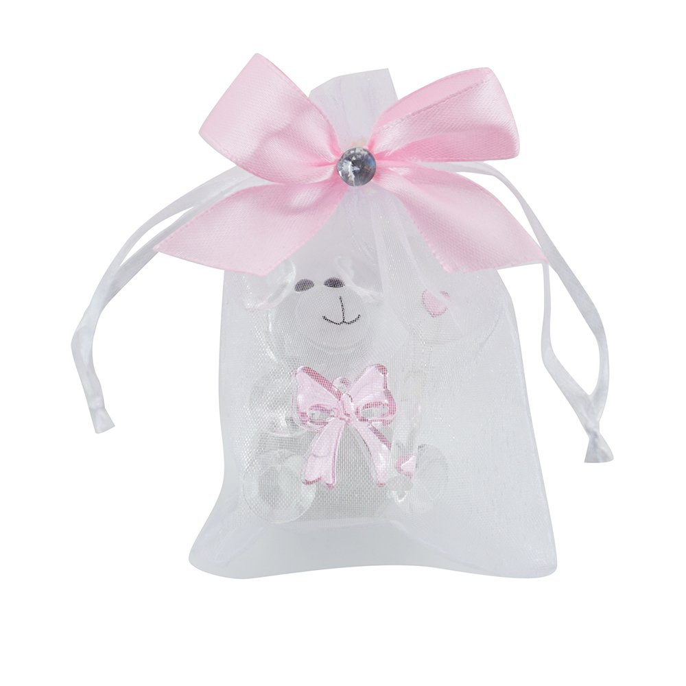 12 Pcs Crystal Teddy Bear Figurines with Decorated Pouches - Baby Girl Shower Favor/ Birthday Gift