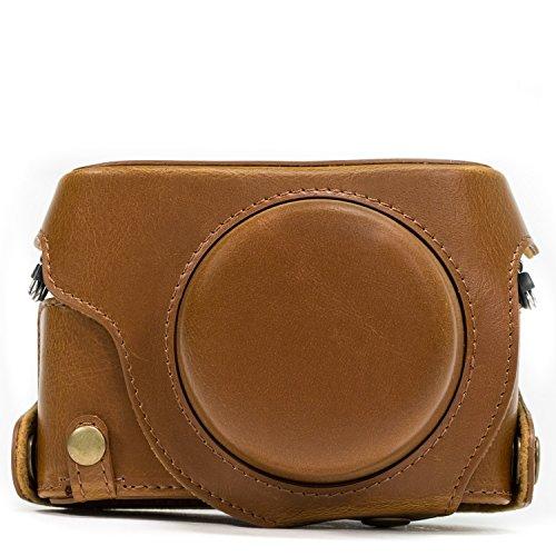 MegaGearEver Ready Protective Leather Camera Case, Bag for Panasonic LUMIX LX100, DMC-LX100 Camera (Light Brown)