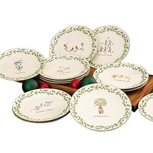 Amazon.com | Lenox 12 Days of Christmas Dessert Plates ...