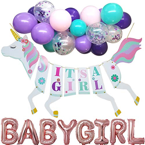 Baby Shower Party Supplies - Unicorn It's a Girl Banner with Baby Girl Foil Balloons Lavender Turquoise Pink Latex Balloons and Confetti Balloon for Baby Shower Girl Birthday Party Decoration]()